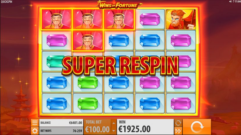 WIns of Fortune Super Respin
