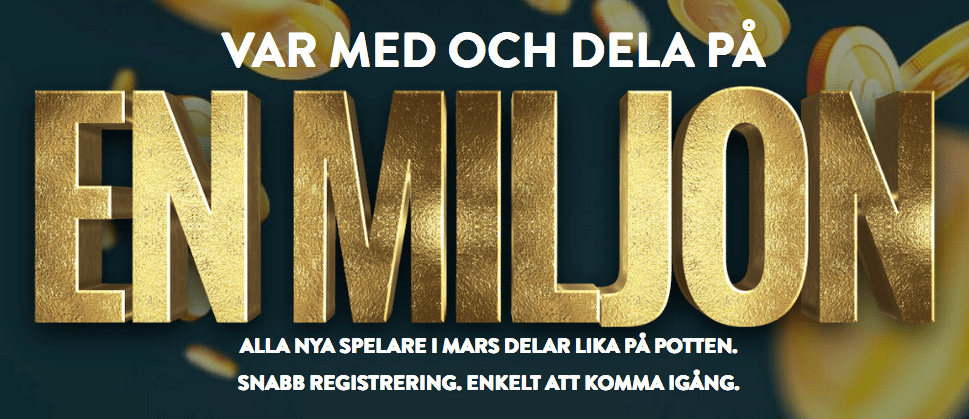 no account casino 1 miljon kronor